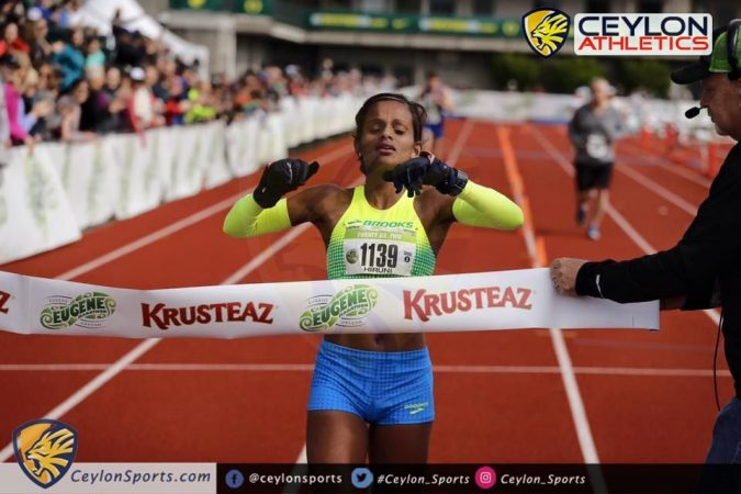 2ef77afedf6d3b Marathoner Hiruni Wijayaratne clocked 2 hours 43 minutes and 31 seconds in  the Eugene Marathon when she crossed the finish line as first female and  11th ...